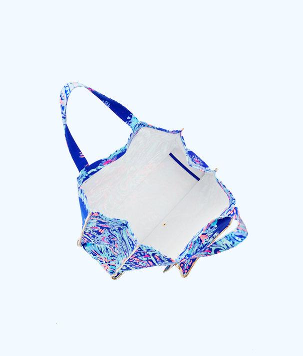 Sunbathers Foldable Beach Tote Bag, Twilight Blue Gypsea Girl, large