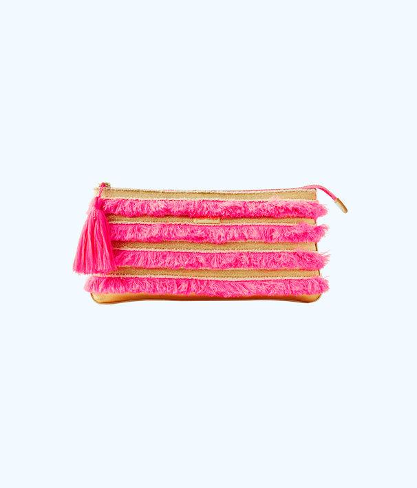 Fiji Fringe Beach Clutch, Pascha Pink, large
