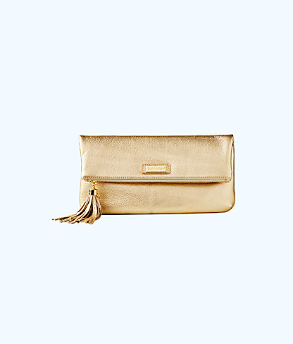 Seaside Clutch, Gold Metallic, large