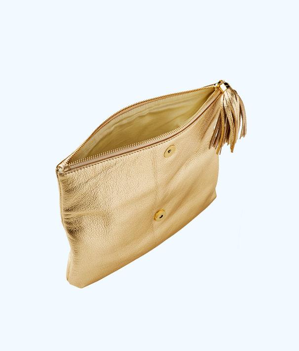 Seaside Clutch, Gold Metallic, large