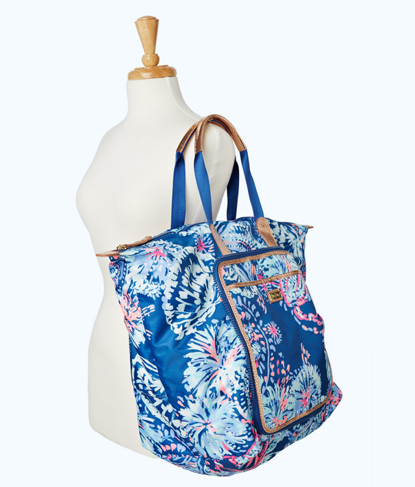 Wanderlust Packable Travel Tote, Deep Indigo Gypsea Girl, large