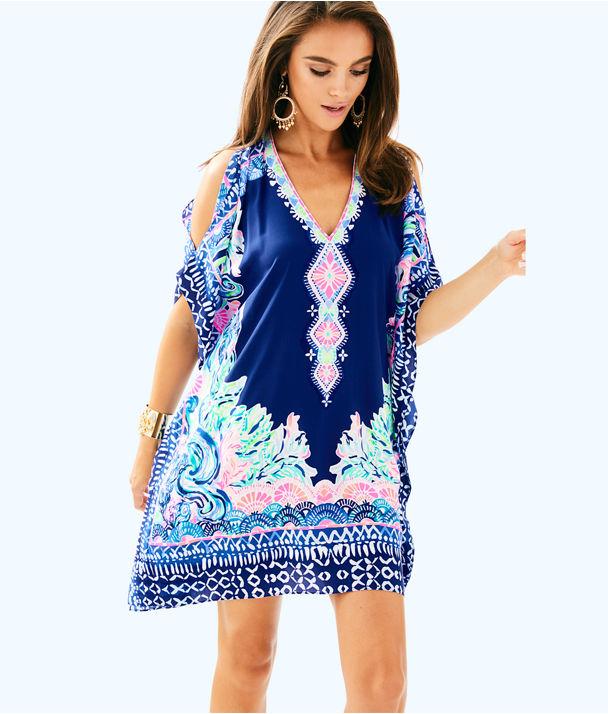 Atlin Silk Caftan, Deep Indigo Seaglass Menagerie Eng Dress Front, large