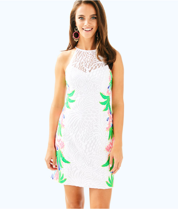 Pearl Shift Dress, Resort White Tropical Fruit Lace, large