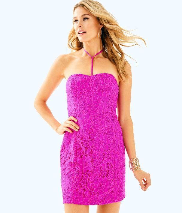 Demi Convertible Dress, Berry Sangria Corded Floral Lace, large