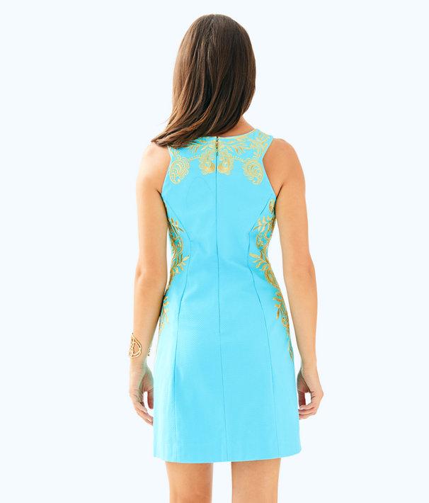 Tina Stretch Shift Dress, Blue Ibiza, large