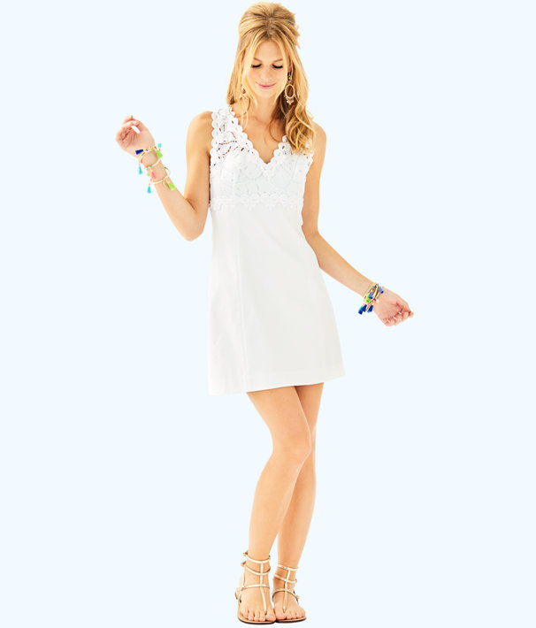 Sandi Stretch Shift Dress, Resort White, large