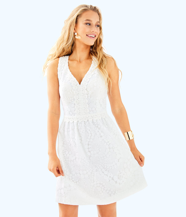 Litzia Dress, Resort White Mocean Lace, large