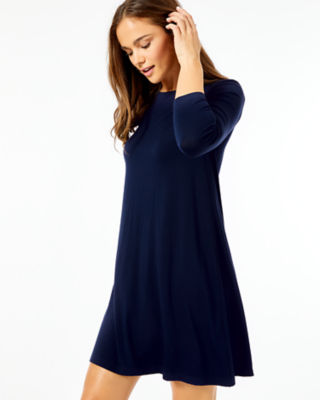 Ophelia Swing Dress, Midnight Navy, large 2