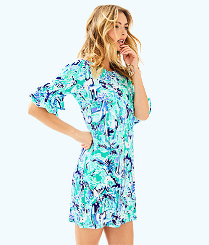 Lula Dress, Tropical Turquoise Elephant Appeal, large
