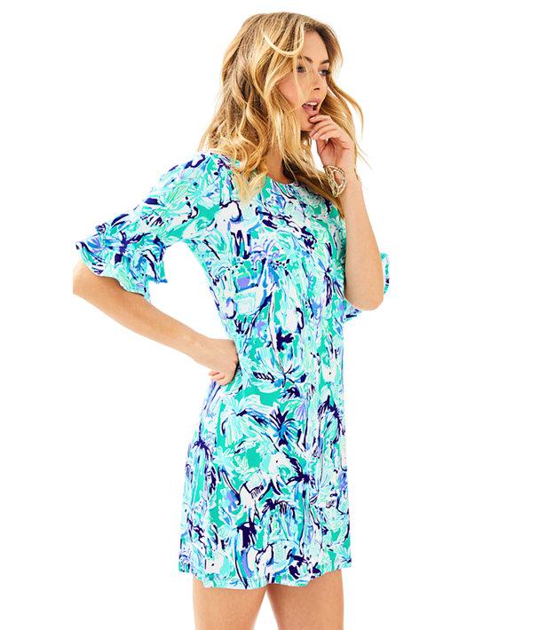 Lula Dress, Tropical Turquoise Elephant Appeal, large