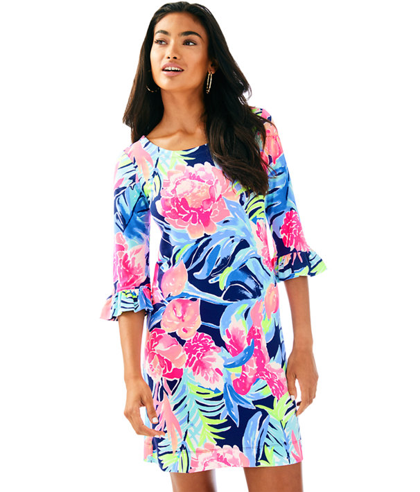 UPF 50+ Sophie Ruffle Dress, High Tide Navy Tropicolada, large