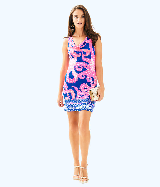 Kyra Silk Jersey Dress, Ikat Blue Mocean Engineered Dress, large