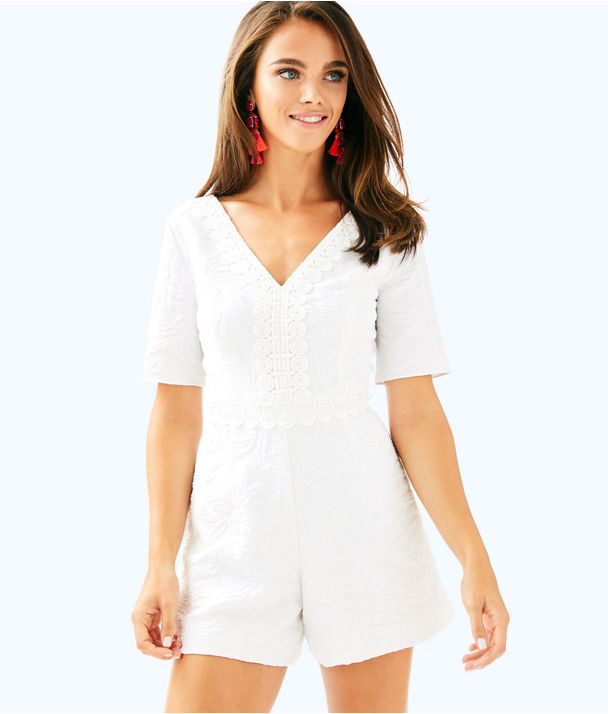 Zina Stretch Romper, Resort White Pineapple Jacquard, large