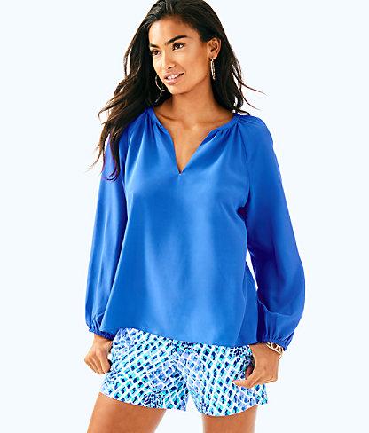 Leslie Silk Top, Beckon Blue, large