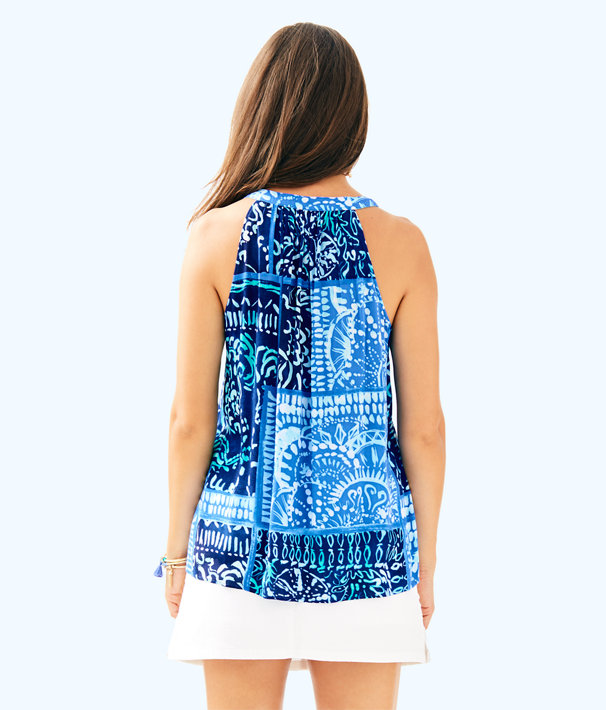 Sleeveless Avery Top, Deep Indigo Leied Back, large