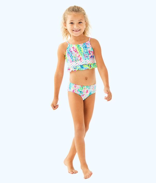 UPF 50+ Girls Katrina Bikini, Multi Catch The Wave, large