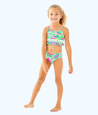 UPF 50+ Girls Katrina Bikini, Multi Shady Lady, large