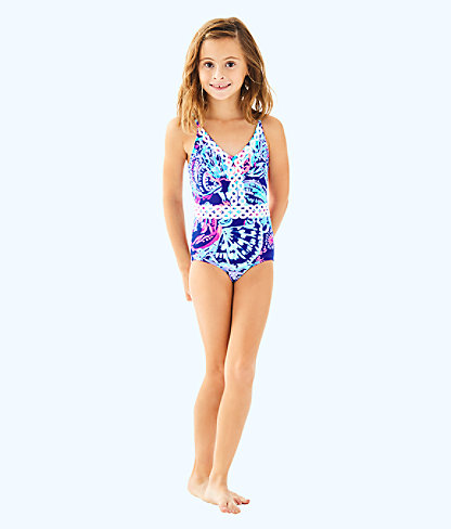 UPF 50+ Girls Mals Swimsuit, Twilight Blue Gypsea Girl, large