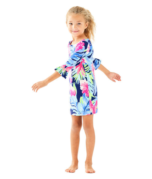 UPF 50+ Girls Mini Sophie Ruffle Dress, High Tide Navy Tropicolada, large