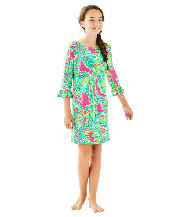 UPF 50+ Girls Mini Sophie Ruffle Dress, Raz Berry Shady Lady, large
