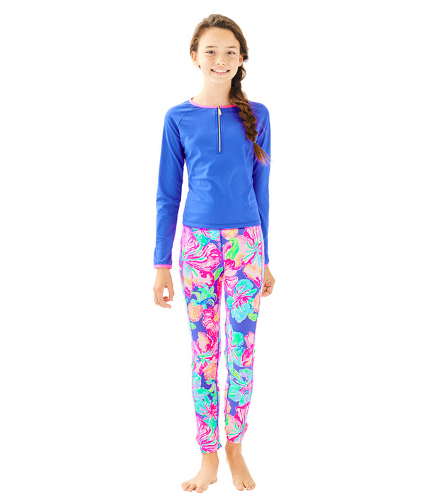 Girls Melody Legging, Beckon Blue Jungle Utopia Small, large