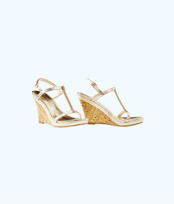 Maxine Wedge, Gold Metallic, large