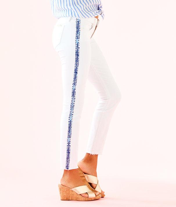 "28"" South Ocean Skinny Crop Pant, Resort White Crisscross Tuxedo Stripe, large"