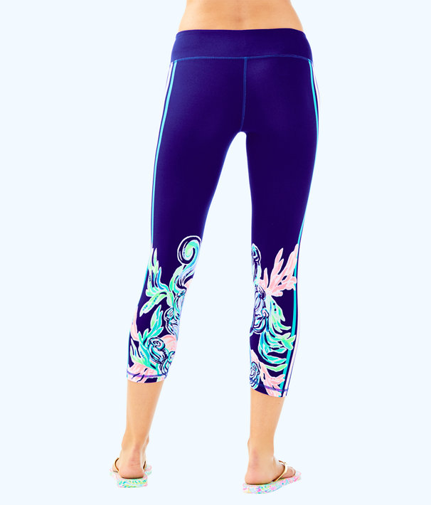 "UPF 50+ Luxletic 21"" Jolena Weekender Cropped Legging, Ikat Blue Seaglass Menagerie Luxletic, large"