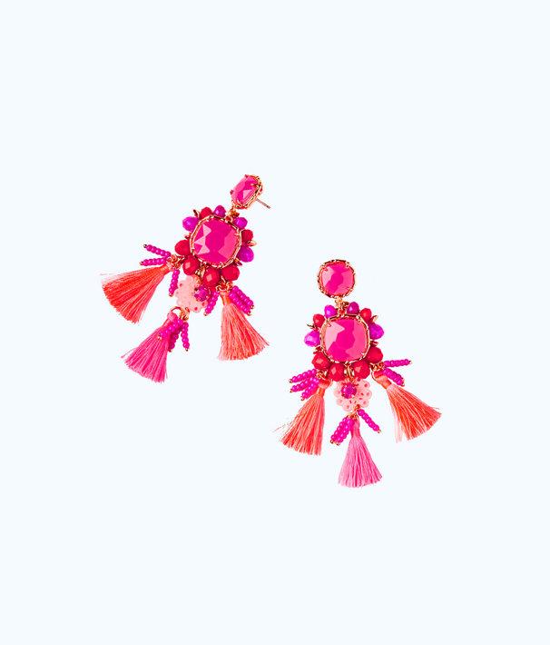 Island Exotic Tassel Earrings, Raz Berry, large