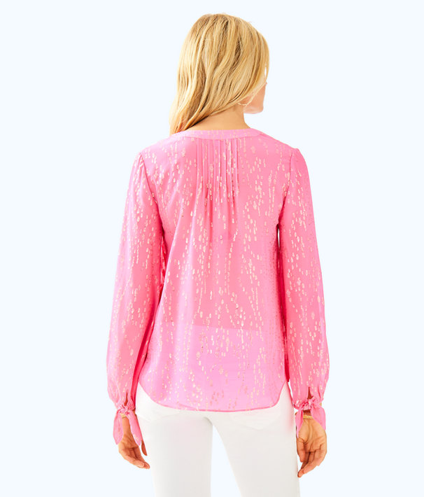 Colby Silk Clip Top, Pascha Pink Fish Clip Chiffon, large