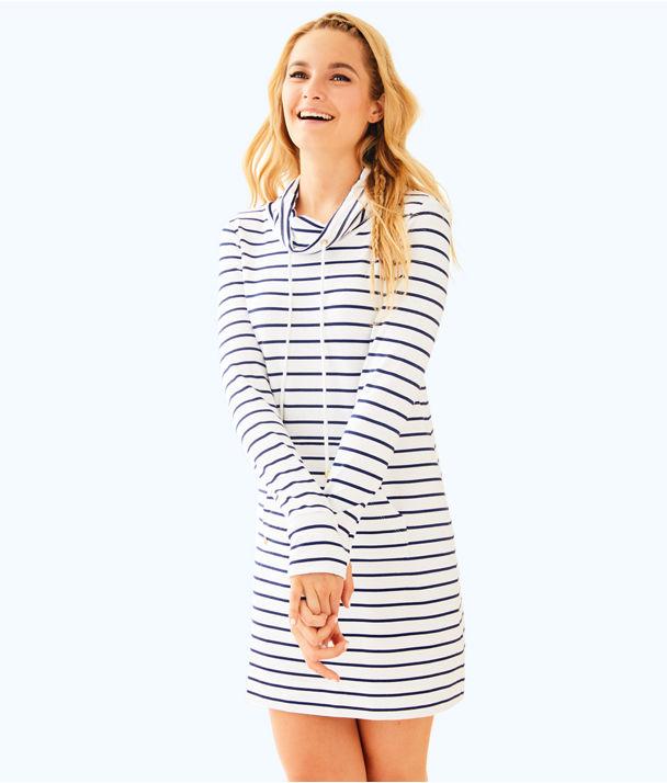 UPF 50+ Hillary Popover Dress, Bright Navy Mystic Stripe, large