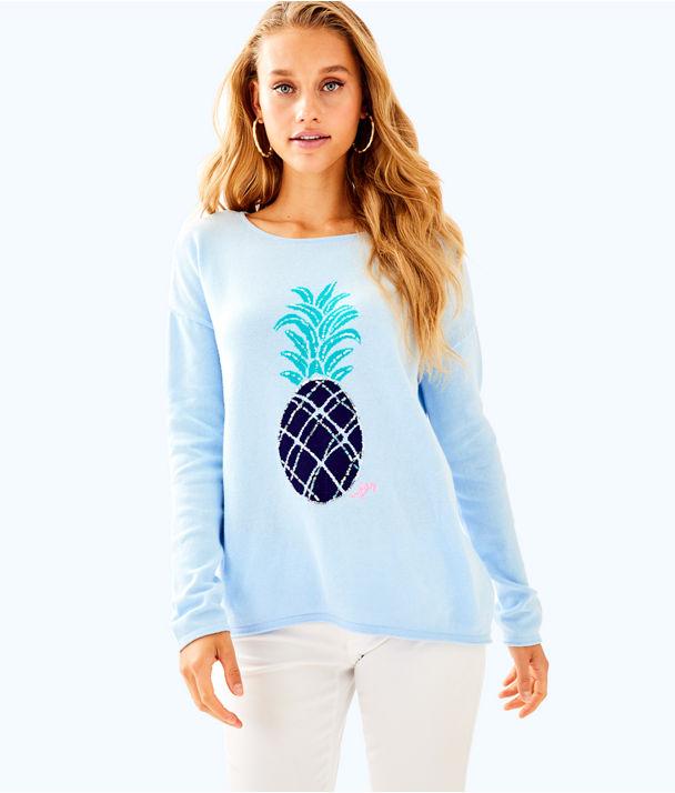 Roselle Sweater, Boho Blue Pineapple, large