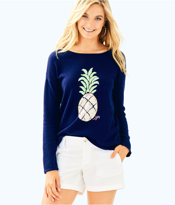 Roselle Sweater, True Navy Pineapple, large