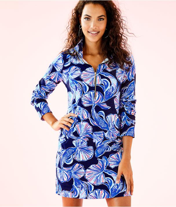 UPF 50+ Printed Popover Skipper Dress, Bright Navy In Reel Life, large