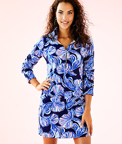 UPF 50+ Printed Popover Skipper Dress, Bright Navy In Reel Life, large