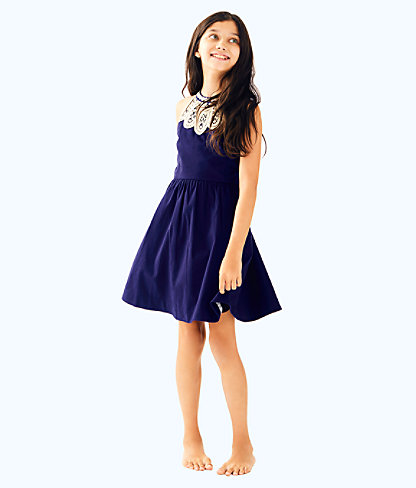 Girls Kinley Dress, True Navy, large