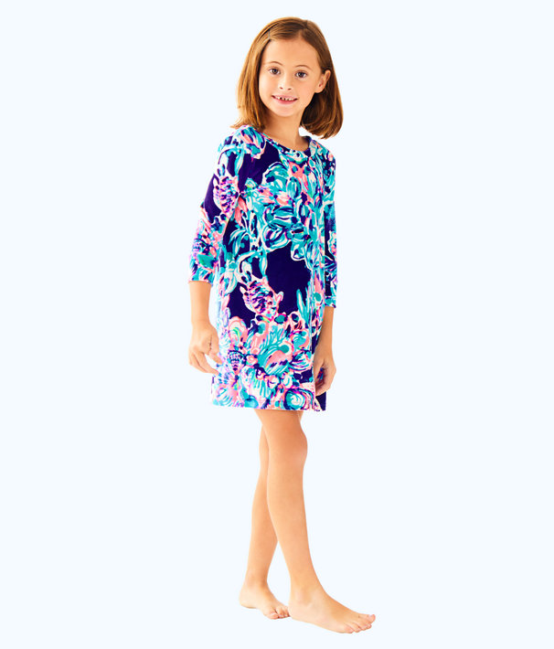 Girls Mini Olive Dress, Bright Navy Caught Up, large