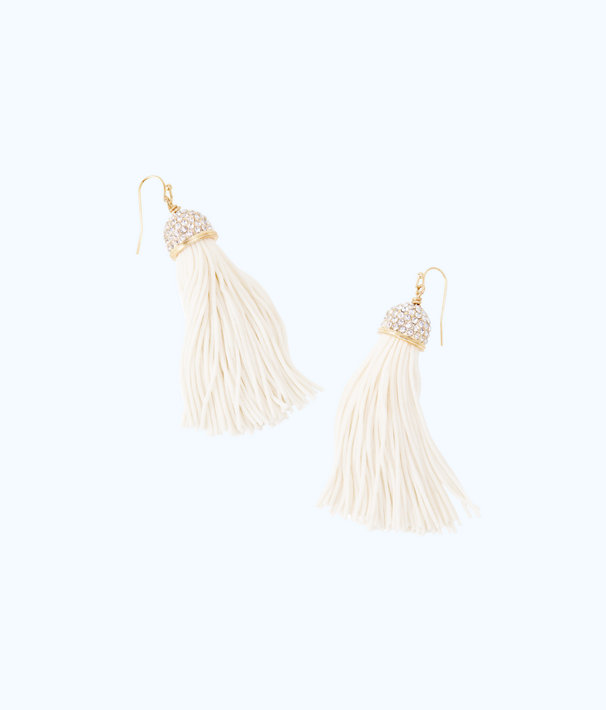 Midnight Tassel Earrings, Resort White, large