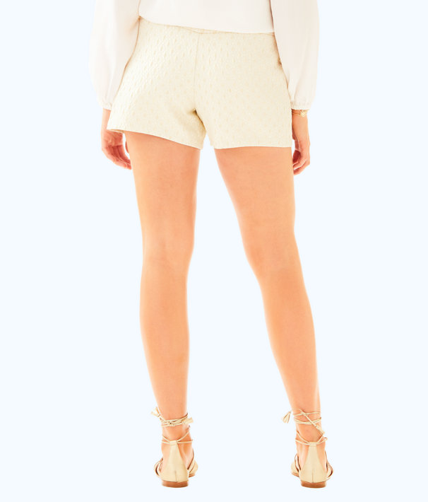 "4"" Makenna Cocktail Short, Gold Metallic Dotted Jacquard, large"