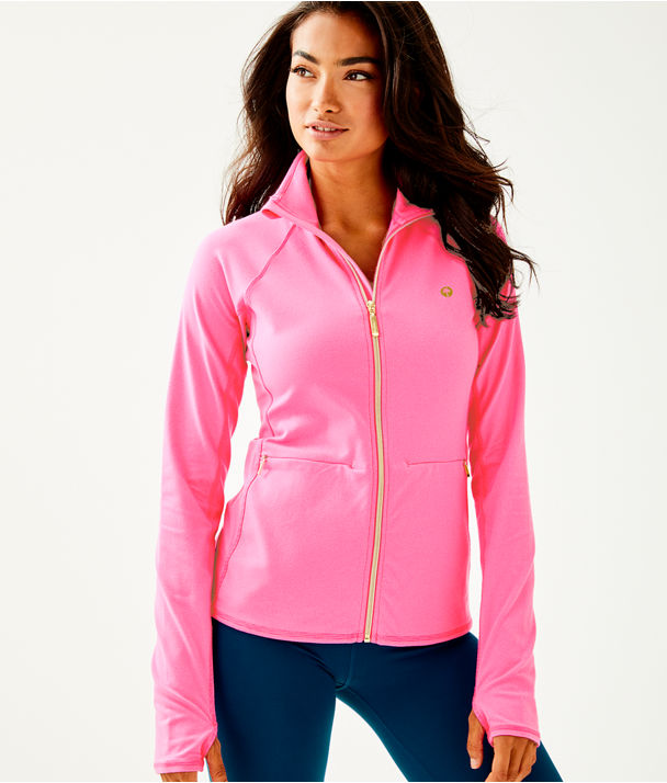 Luxletic Kapri Jacket, Pink Tropics Feeder Stripe, large