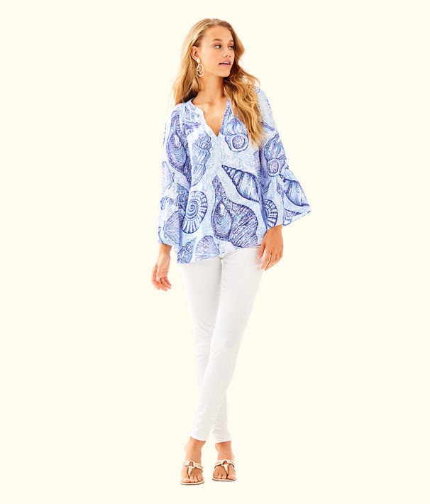 Matilda Silk Top, Blue Peri Pop Up Stuffed Shells, large