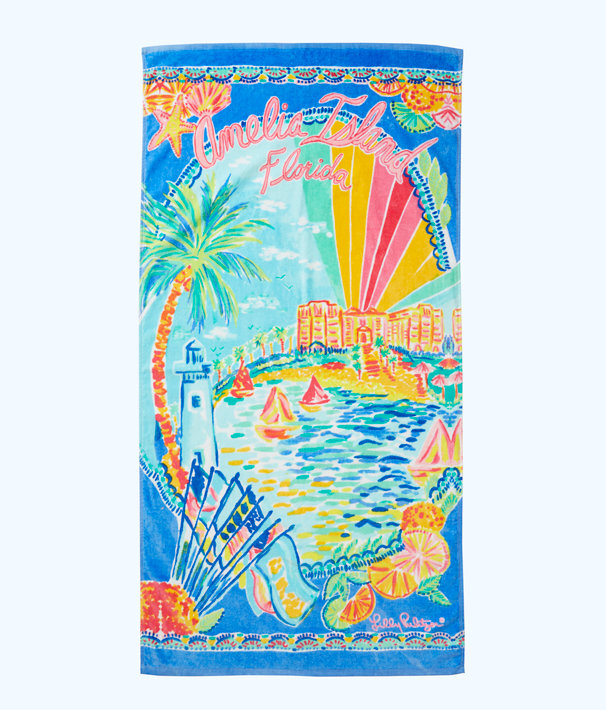 Destination Beach Towel, Multi Destination Amelia Island Towel, large