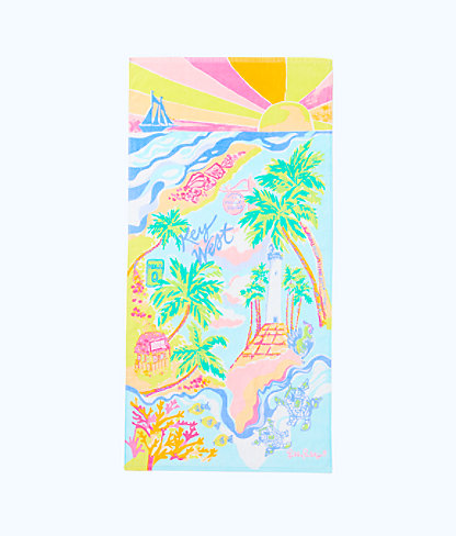 Destination Beach Towel, Multi Destination Key West Towel, large
