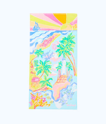 Destination Beach Towel, Multi Destination Key West Towel, large 0