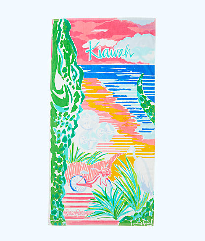 Destination Beach Towel, Multi Destination Kiawah Towel, large 0