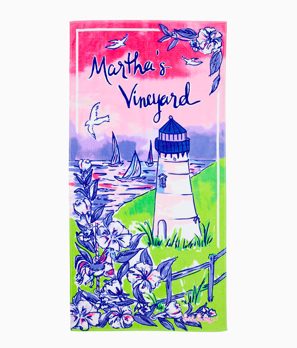 Destination Beach Towel, Multi Destination Marthas Vineyard Towel, large