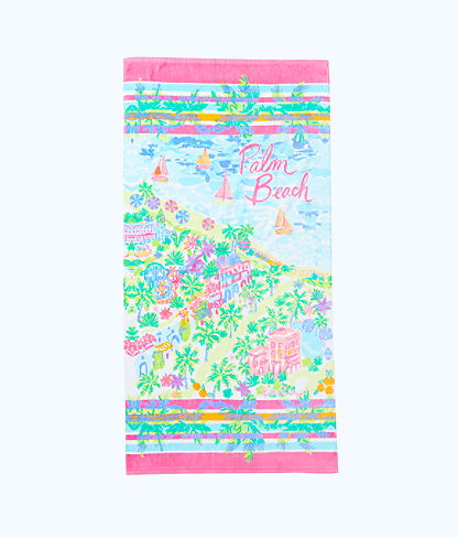 Destination Beach Towel, Multi Destination Palm Beach Towel, large