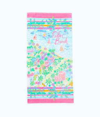 Destination Beach Towel, Multi Destination Palm Beach Towel, large 0