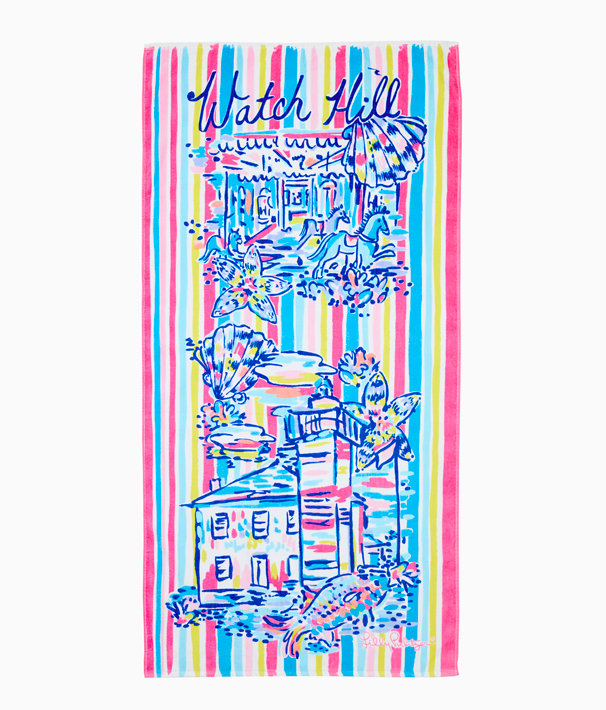 Destination Beach Towel, Multi Destination Watch Hill Towel, large