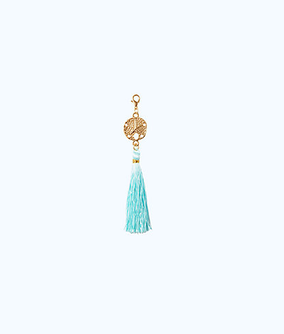 Removable Sand Dollar Zipper Pull With Tassel, Seasalt Blue, large